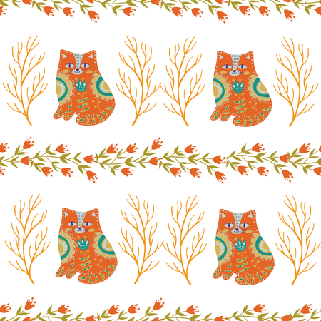 Seamless pattern colorful illustration with beautiful flowers and cats. Scandinavian style. Folk art.
