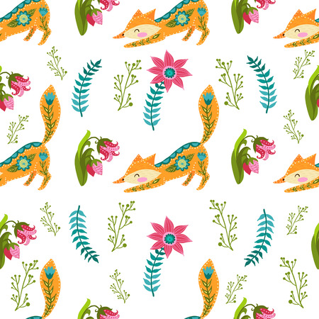 Seamless pattern colorful illustration with beautiful flowers and fox. Scandinavian style. Illustration