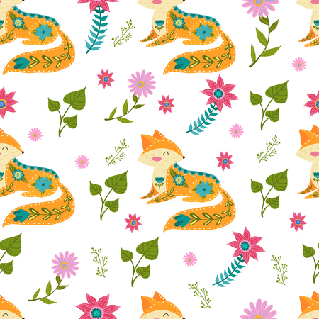 Seamless pattern colorful illustration with beautiful flowers and fox. Scandinavian style. Folk art.