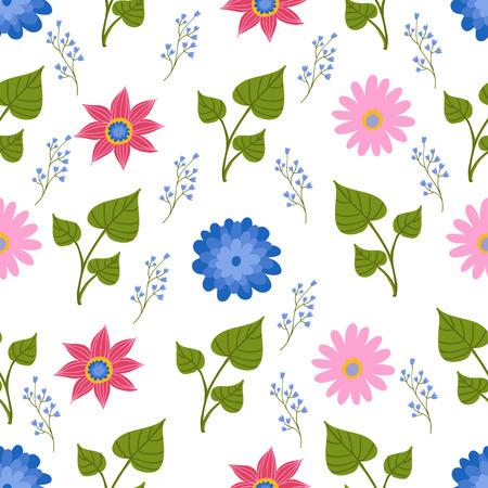Seamless pattern illustration with beautiful flowers. Scandinavian style. Folk art. Stockfoto