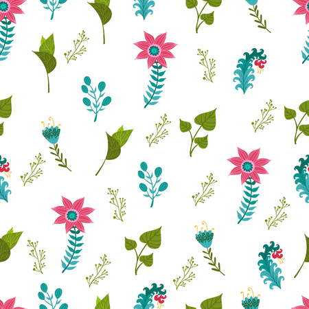 Seamless pattern illustration with beautiful flowers. Scandinavian style. Folk art. Standard-Bild - 100346669
