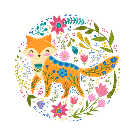 Folk set vector colorful illustration with beautiful fox and flowers, Scandinavian style.