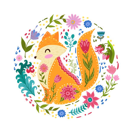Folk set vector colorful illustration with beautiful fox and flowers. Scandinavian style. Banco de Imagens