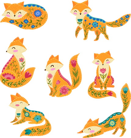 Folk vector colorful illustration with beautiful fox and flowers. Scandinavian style.
