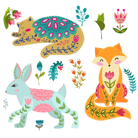 Folk set vector colorful illustration with beautiful fox, cats, rabbits and flowers. Animals in scandinavian style. Standard-Bild - 101302841
