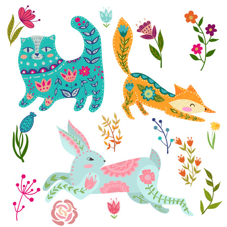 Folk set vector colorful illustration with beautiful fox, cats, rabbits and flowers. Animals in scandinavian style.
