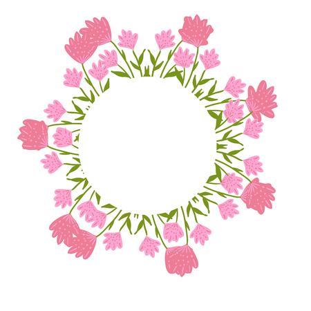 Beautiful wreath. Elegant floral frame hand drawn. Design for invitation, wedding or greeting cards.