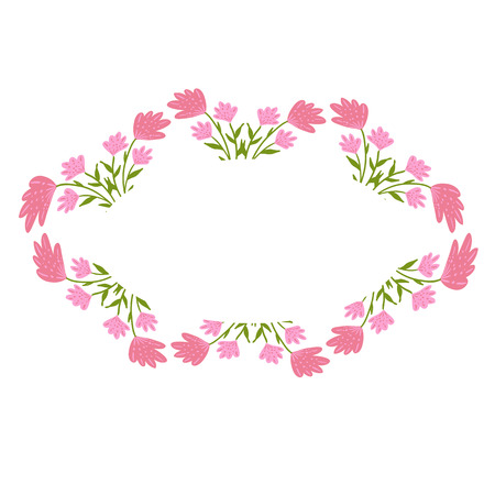 Beautiful wreath. Elegant floral frame hand drawn. Design for invitation, wedding or greeting cards. Standard-Bild - 121825926