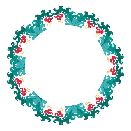 Beautiful wreath. Elegant floral frame hand drawn. Design for invitation, wedding or greeting cards. Standard-Bild - 121825928
