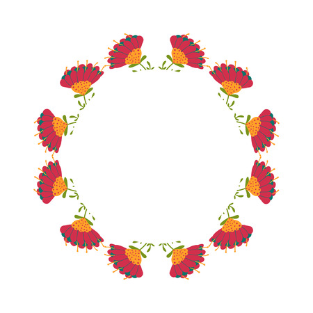 Beautiful wreath. Elegant floral frame hand drawn. Design for invitation, wedding or greeting cards. Standard-Bild - 121825931