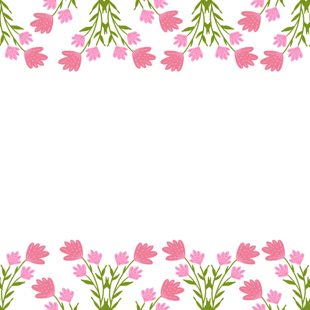 greeting card with seamless floral border. Perfect for spring holiday invitation. Standard-Bild - 106303005