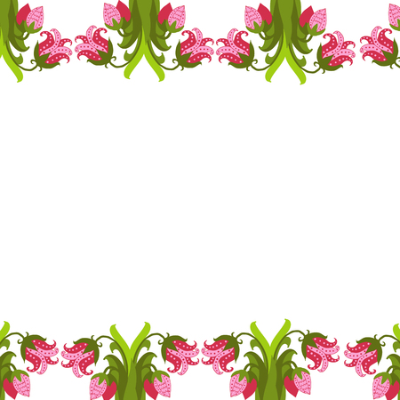 greeting card with seamless floral border. Perfect for spring holiday invitation. Banco de Imagens