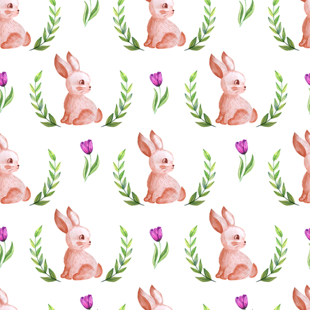 Seamless pattern watercolor flowers and cute rabbit Standard-Bild - 115072863
