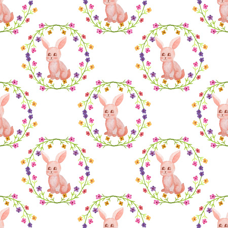 Seamless pattern watercolor flowers and cute rabbit Banco de Imagens