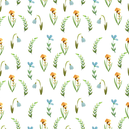 Seamless pattern watercolor flowers