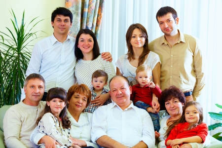 relatives: big family at home