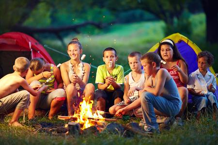 campamento: grupo de niños felices asar malvaviscos en una fogata Foto de archivo