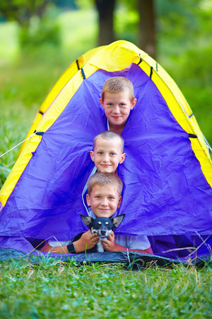 funny kids and dog looking out from tent. summer camp photo
