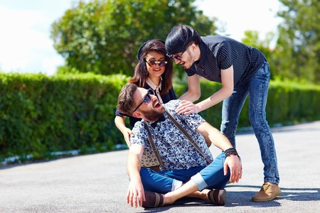 three day beard: group of friends having fun on the street Stock Photo