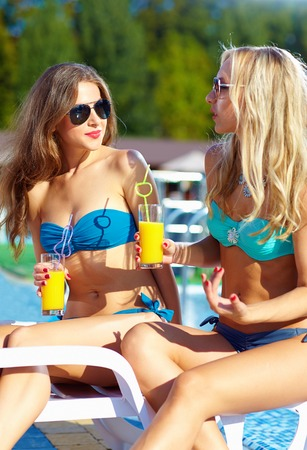 recreate: beautiful girls talking on summer beach