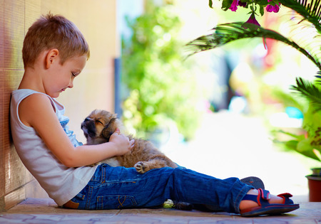 young boy hugging little puppy photo