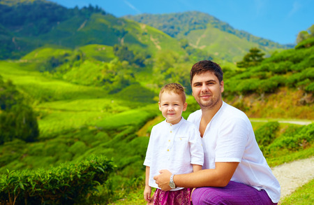 highlands: family portrait on tea plantation, Cameron Highlands