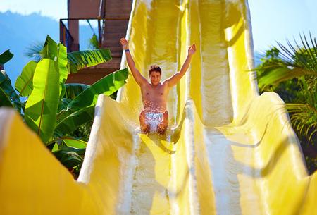 熱帯のアクア公園の水スライドの楽しんで興奮して男