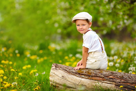 cute young boy sitting on stump in spring blooming garden photo