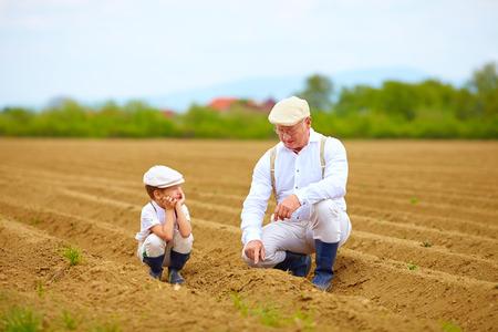 Abuelo explicar su nieto la forma en plantas son crecer Foto de archivo - 39562005