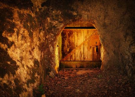 Oude houten deur in rots, in donker bos Stockfoto