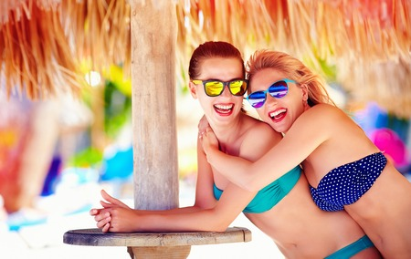 friend: beautiful happy women, friends enjoy summer vacation on tropical beach Stock Photo