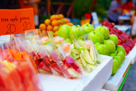 fruit market: colorful tropical fruits on street market Stock Photo
