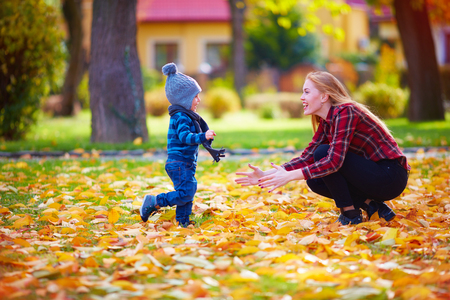 parents with baby: cute little boy having fun with mother in autumn park Stock Photo