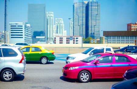 city traffic: heavy traffic road in metropolis at rush hours