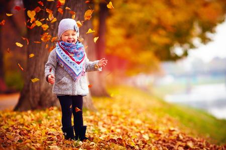 落ち葉の中で秋の公園で楽しんで美しいハッピー ベビー女の子 写真素材