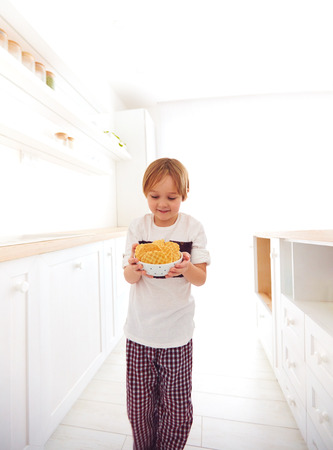 furtively: happy kid has found a plate full of cookies on kitchen Stock Photo