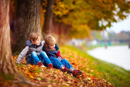 young boys: young boys, best friends sitting under the tree in autumn park