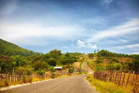 the road to Pico Isabel de Torres, Puerto Plata, through the countryside and a sun scorched landscape