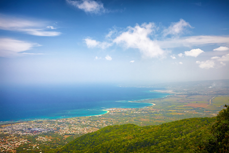 fascinating view on Puerto Plata city and Atlantic Ocean from the top of Pico Isabel de Torres