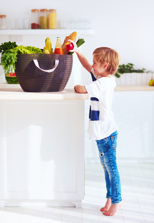 curious kid getting out a fruit from shopping bag full of food