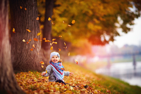 adorable happy baby girl throwing the fallen leaves up, playing in the autumn park Фото со стока