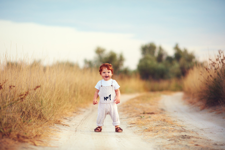 cute toddler baby boy having fun playing on the path at summer field