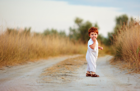 cute little redhead baby boy walking on rural path at summer day
