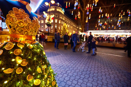 creative citrus dress on christmas market in Budapest Stockfoto