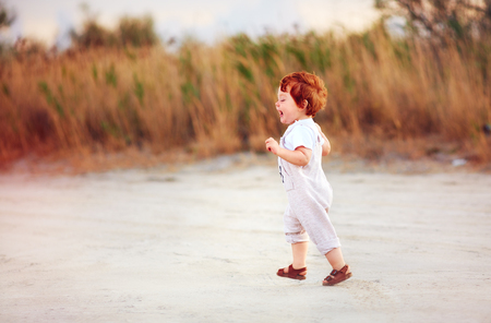 delighted redhead toddler baby boy walking outdoors, at summer field