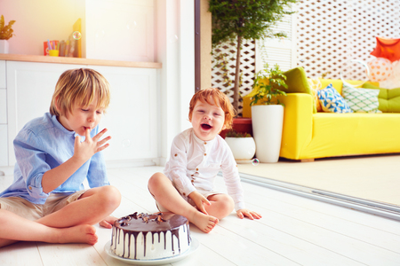 happy kids, brothers tasting birthday cake at home