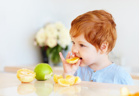 lindo bebé pelirrojo degustación de rodajas de naranja y manzanas en la cocina