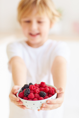 young boy, kid holding a plate of fresh and ripe raspberries and blackberries