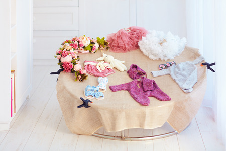 newborn baby photography props at home studio with natural light