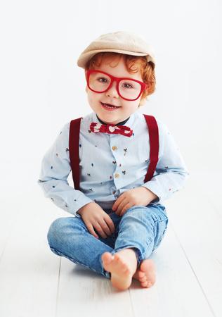 portrait of beautiful redhead toddler baby boy Stock Photo